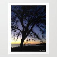 Silhouette at Nightfall  Art Print