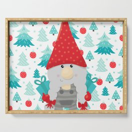 Holiday Gnome with gifts Serving Tray