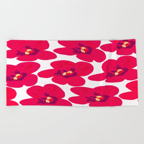 Red Retro Flowers Beach Towel