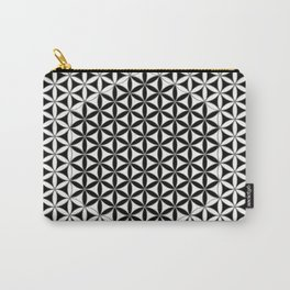 Flower of Life White Black Carry-All Pouch