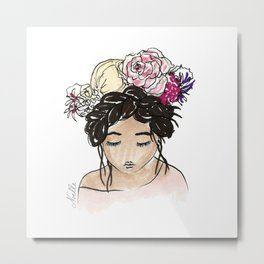 Flower Crown Clara Metal Print