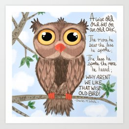 A wise old owl Art Print
