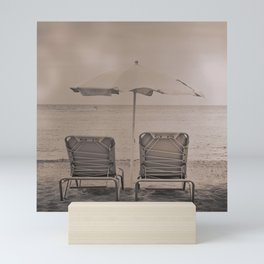 The loneliness of the deck chairs - La soledad de las tumbonas Mini Art Print