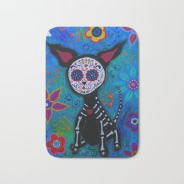 Dia de los Muertos Chihuahua Mexican Painting Bath Mat