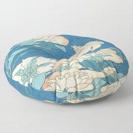 Japanese Flowers Turquoise Peach Floor Pillow