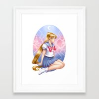 sailormoon Framed Art Prints featuring Sailor moon by Roots-Love