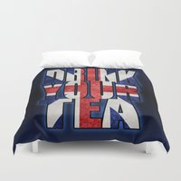 british flag Duvet Covers featuring Tea / British by tshirtsz