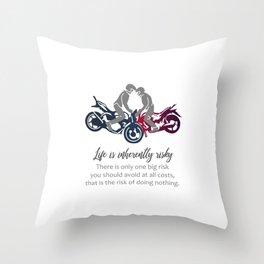 Biker inspirational quotes- Motorbikers performing stunts Throw Pillow