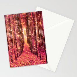Magical Forest Pink Living Coral Peach Stationery Cards
