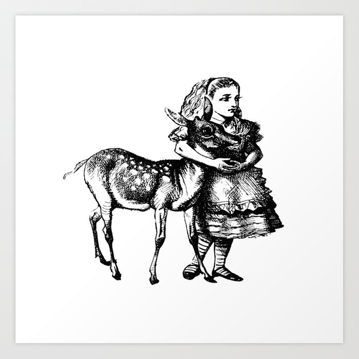 Alice and the Fawn in Black with Transparent Background Kunstdrucke