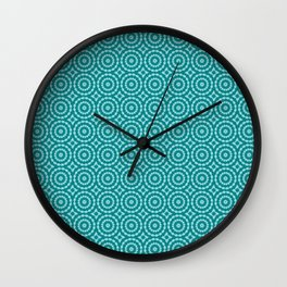 Tanager Turquoise and Teal Blue Duo Tone Repeat Pattern Wall Clock