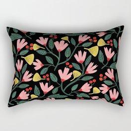 Pink Floral Pattern on Black Rectangular Pillow