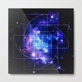 Galaxy sacred geometry Golden Mean Deep Blue Metal Print