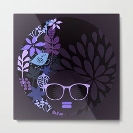 Afro Diva : Sophisticated Lady Purple Lavender Metal Print