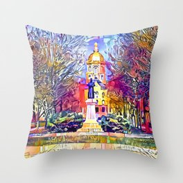 Father Sorin Statue on Notre Dame Main Quad Throw Pillow