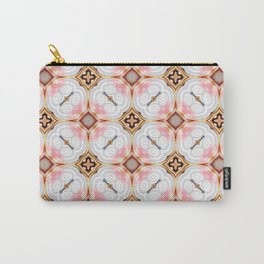 Gold Buttons Pink and White Pattern Carry-All Pouch