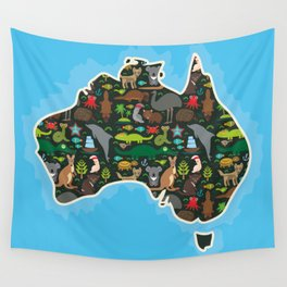 map of Australia. Wombat Echidna Platypus Emu Tasmanian devil Cockatoo kangaroo dingo octopus fish Wall Tapestry