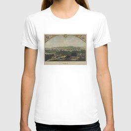 Vintage Pictorial Map of Bridgeport CT (1857) T-shirt