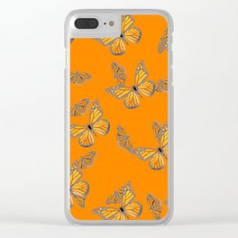 ABSTRACT GREY MONARCH BUTTERFLIES ON ORANGE Clear iPhone Case