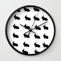 rabbits Wall Clocks featuring Rabbits by thewinterisnotover