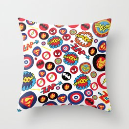 Superhero Stickers Throw Pillow