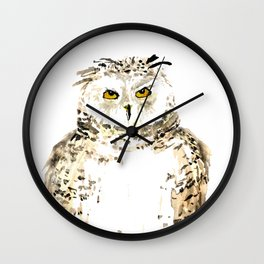 Snowy Owl watercolor Wall Clock