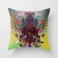 ganesha Throw Pillows featuring Ganesha by Archan Nair