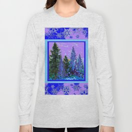 BLUE-LILAC WINTER SNOWFLAKE CRYSTALS FOREST ART DESIGN Long Sleeve T-shirt