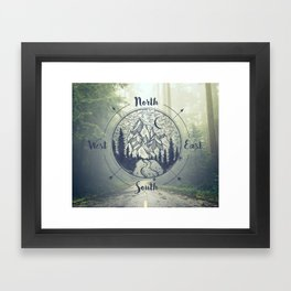Compass Mountain Road Trip Framed Art Print