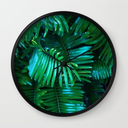Green Palm Leaves Wall Clock