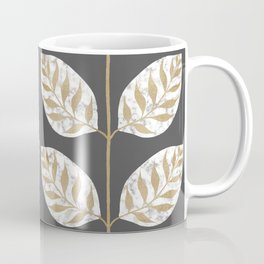 Gilded Leaf Inlay Marble and Gold on Squid Ink Coffee Mug