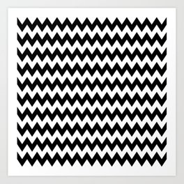 Black White Chevron Art Print