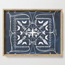 Navy Blue Art, Mandala Spirituality Meditation Focus Art, Butterfly Watercolor Line Art Serving Tray