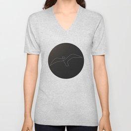 one line bird - circled seagulll Unisex V-Neck
