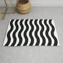Black And White Abstract Wavy Lines Pattern Rug