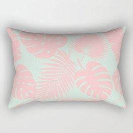 Tropical Leaves - Blush on Aqua Rectangular Pillow