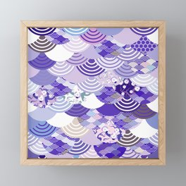 Nature background with japanese sakura flower, Cherry, wave circle. Ultra Violet Color of the Year Framed Mini Art Print