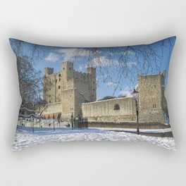 Rochester Castle in Snow Rectangular Pillow