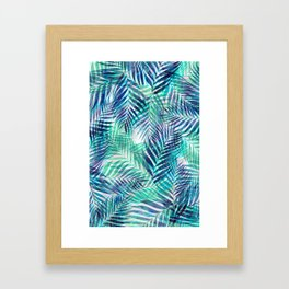 Palm Leaves - Indigo Green Framed Art Print