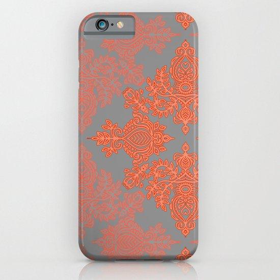 Burnt Orange, Coral & Grey doodle pattern iPhone & iPod Case
