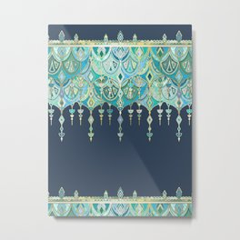 Art Deco Double Drop in Blues and Greens Metal Print