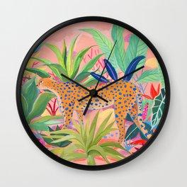 Leopard in Succulent Garden Wall Clock