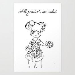 All genders are valid Art Print