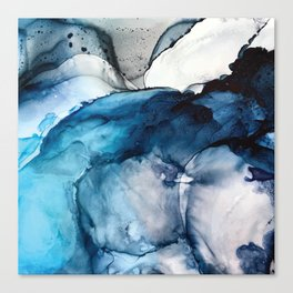 White Sand Blue Sea - Alcohol Ink Painting Canvas Print