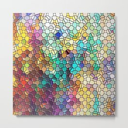 Decorative Rainbow Tiled Mosaic Abstract Metal Print