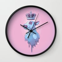bull terrier Wall Clocks featuring BULL-TERRIER by La fuite du cerveau
