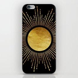 Golden Sunburst Starburst Noir iPhone Skin