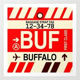 BUF Buffalo • Airport Code and Vintage Baggage Tag Design Art Print
