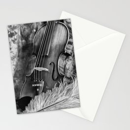 Violin and feather Stationery Cards