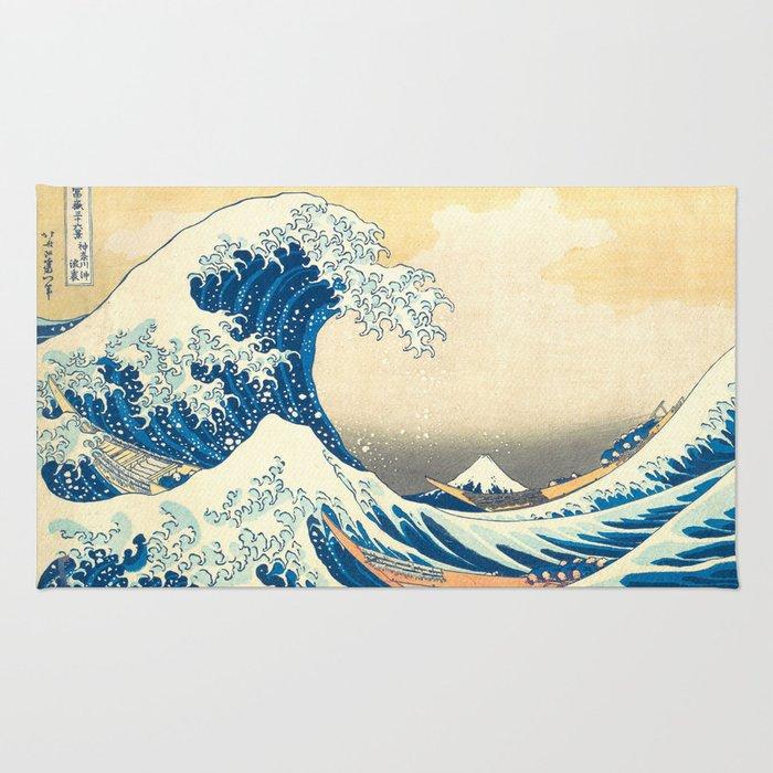 Japanese Woodblock Print The Great Wave of Kanagawa by Katsushika Hokusai Rug